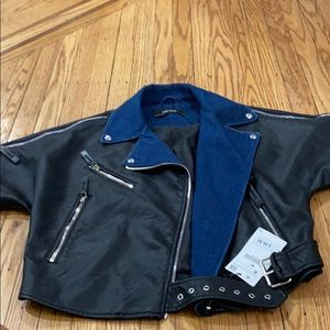 Zara Moto style  faux leather and denim vest sizeS